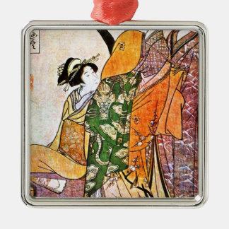 Vintage Japanese Geisha Artwork Metal Ornament