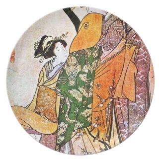 Vintage Japanese Geisha Artwork Plate