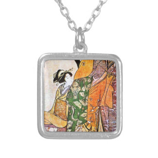 Vintage Japanese Geisha Artwork Silver Plated Necklace