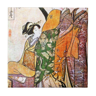 Vintage Japanese Geisha Artwork Tile