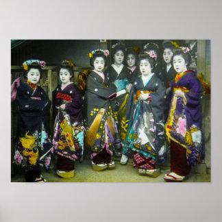 Vintage Japanese Geisha Beautiful Magic Lantern Poster