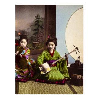Vintage Japanese Geisha Musical Entertainment Postcard