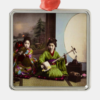 Vintage Japanese Geisha Musical Entertainment Silver-Colored Square Ornament