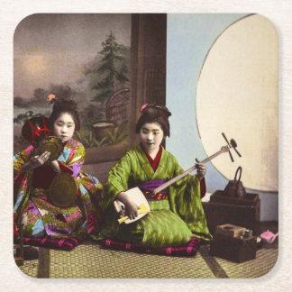 Vintage Japanese Geisha Musical Entertainment Square Paper Coaster