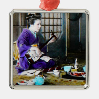 Vintage Japanese Geisha Playing Shamisen Banjo Silver-Colored Square Ornament