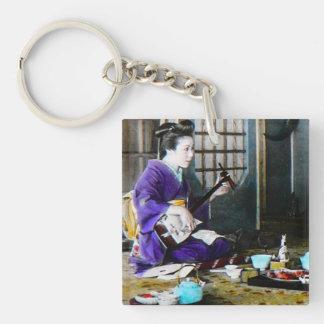 Vintage Japanese Geisha Playing Shamisen Banjo Single-Sided Square Acrylic Keychain