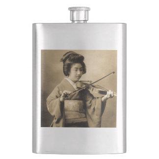 Vintage Japanese Geisha Playing Violin Classic Hip Flask