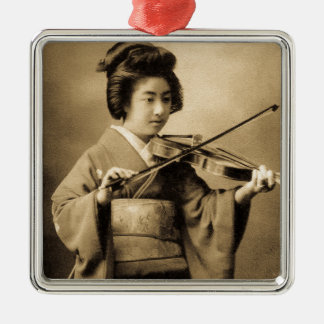 Vintage Japanese Geisha Playing Violin Classic Silver-Colored Square Ornament