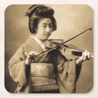 Vintage Japanese Geisha Playing Violin Classic Square Paper Coaster