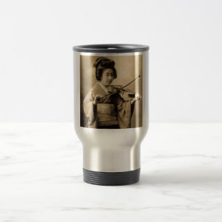 Vintage Japanese Geisha Playing Violin Classic Travel Mug