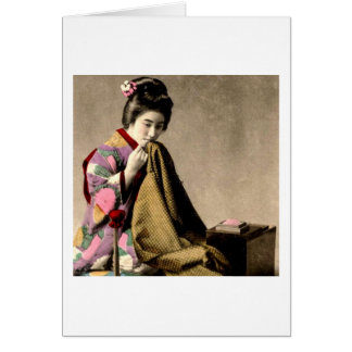 Vintage Japanese Geisha Sewing a Kimono Old Japan Card