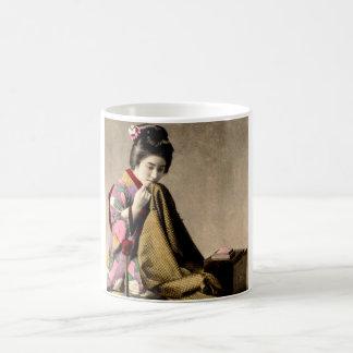 Vintage Japanese Geisha Sewing a Kimono Old Japan Coffee Mug