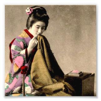 Vintage Japanese Geisha Sewing a Kimono Old Japan Photo Art