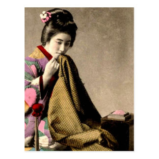 Vintage Japanese Geisha Sewing a Kimono Old Japan Postcard