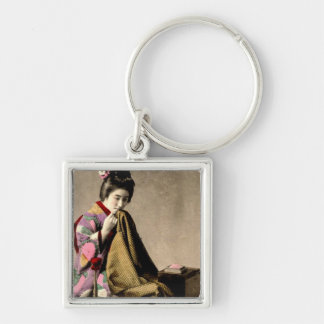 Vintage Japanese Geisha Sewing a Kimono Old Japan Silver-Colored Square Keychain