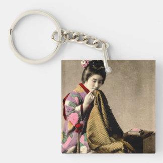 Vintage Japanese Geisha Sewing a Kimono Old Japan Single-Sided Square Acrylic Keychain