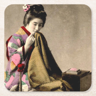 Vintage Japanese Geisha Sewing a Kimono Old Japan Square Paper Coaster