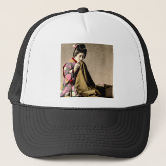 Vintage Japanese Geisha Sewing a Kimono Old Japan Trucker Hat