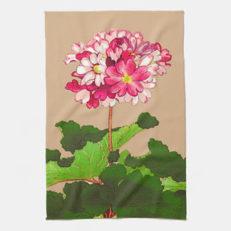 Vintage Japanese Hydrangea. Pink and Green Kitchen Towel