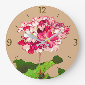 Vintage Japanese Hydrangea. Pink and Green Large Clock
