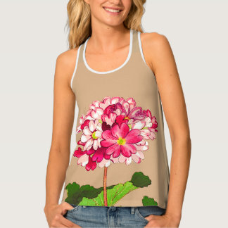 Vintage Japanese Hydrangea. Pink and Green Tank Top