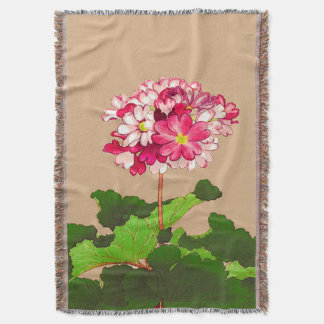 Vintage Japanese Hydrangea. Pink and Green Throw Blanket