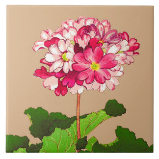 Vintage Japanese Hydrangea. Pink and Green Tile