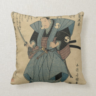 Vintage Japanese Image of Actor in Samurai Role Throw Pillow