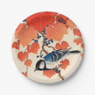 Vintage Japanese Jay Bird and Autumn Grapevine 7 Inch Paper Plate