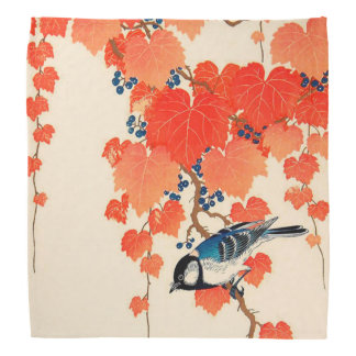 Vintage Japanese Jay Bird and Autumn Grapevine Bandana