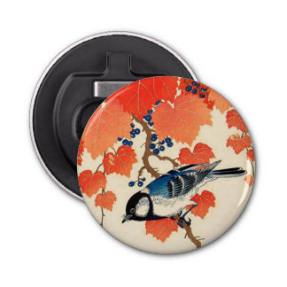 Vintage Japanese Jay Bird and Autumn Grapevine Bottle Opener