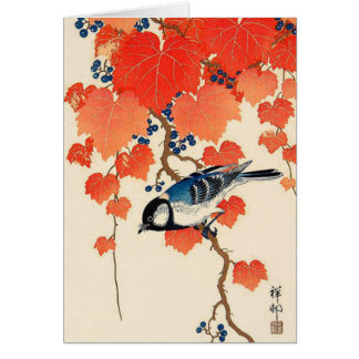 Vintage Japanese Jay Bird and Autumn Grapevine Card