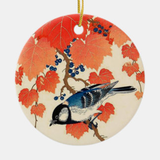 Vintage Japanese Jay Bird and Autumn Grapevine Ceramic Ornament