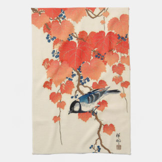 Vintage Japanese Jay Bird and Autumn Grapevine Kitchen Towel