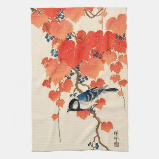 Vintage Japanese Jay Bird and Autumn Grapevine Kitchen Towels