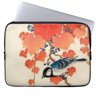 Vintage Japanese Jay Bird and Autumn Grapevine Laptop Sleeve