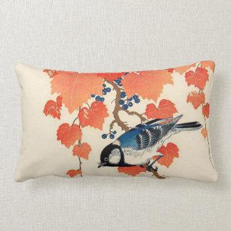 Vintage Japanese Jay Bird and Autumn Grapevine Lumbar Pillow