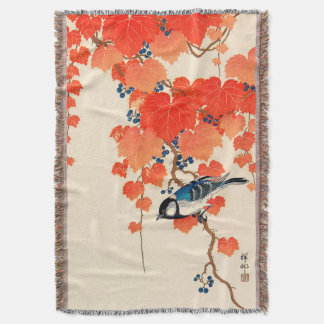 Vintage Japanese Jay Bird and Autumn Grapevine Throw Blanket