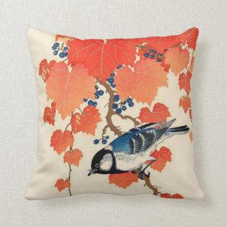 Vintage Japanese Jay Bird and Autumn Grapevine Throw Pillow