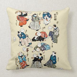 Vintage Japanese Juggler Cats Art Throw Pillow