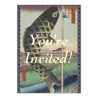 Vintage Japanese Koi Festival Flags Card