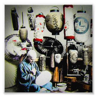 Vintage Japanese Lantern Paper Umbrella Craftsman Photo Print