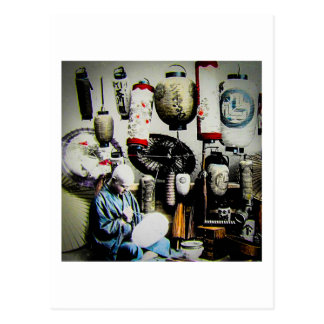 Vintage Japanese Lantern Paper Umbrella Craftsman Postcard