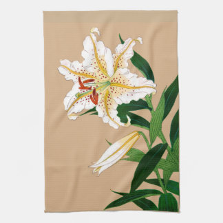 Vintage Japanese Liliy. White, Green and Beige Kitchen Towel