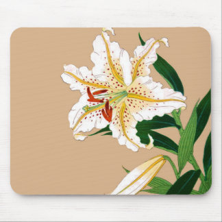 Vintage Japanese Liliy. White, Green and Beige Mouse Pad