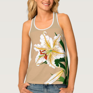 Vintage Japanese Liliy. White, Green and Beige Tank Top