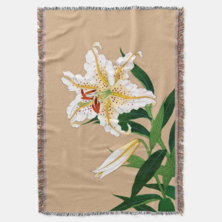 Vintage Japanese Liliy. White, Green and Beige Throw Blanket