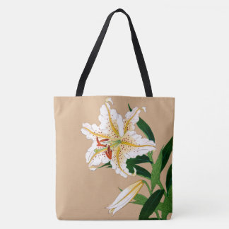 Vintage Japanese Liliy. White, Green and Beige Tote Bag