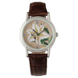 Vintage Japanese Liliy. White, Green and Beige Watch