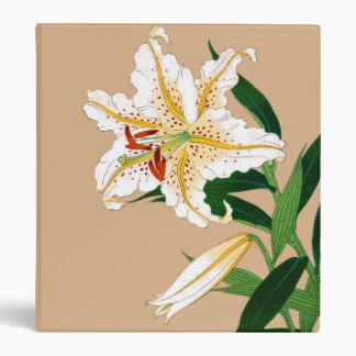 Vintage Japanese Lilly. White, Green and Beige Binders